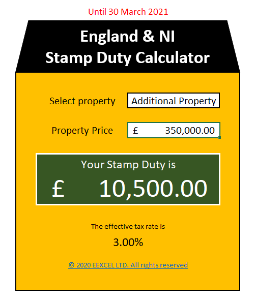 UK Stamp Duty Calculator in Excel